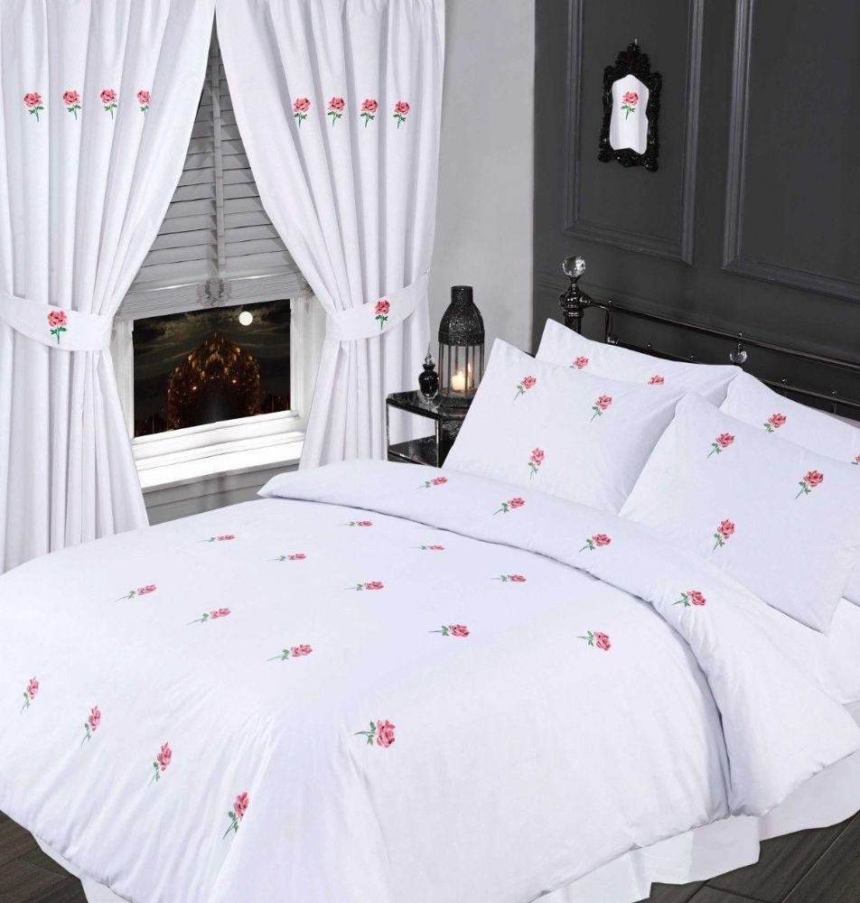 White Amp Pink Colour Stylish Embroidered Floral Duvet Cover